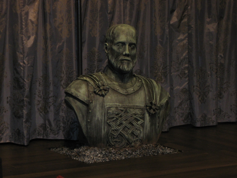 Bust of Hamlet's father, carved out of bead foam with added paper clay and fabric details.